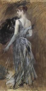 Giovanni Boldini: Signora bionda in abito da sera pastello su carta