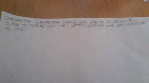 Frase scritta da scolara durante il Viaggio Legale a Rubiera .